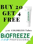 #321 Biofreeze® PROFESSIONAL 4oz COLORLESS Tube Promo Buy 20 get 4 Free!  WOW!