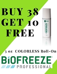 #320-2 BioFreeze®  PROFESSIONAL 3 oz COLORLESS Roll On Promo buy 38 get 10 Free!