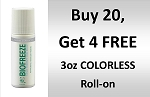 #320  BioFreeze PROFESSIONAL 3 oz COLORLESS Roll On Promo buy 20 get 4 Free!