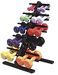 Used Neoprene Dumbbell weight rack w/dumbbells