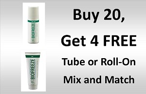 #173-4 BioFreeze® Tubes and Roll-On Promo buy 20 get 4 Free! Mix and Match