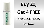 #320  BioFreeze  3 oz COLORLESS Roll On Promo buy 20 get 4 Free!